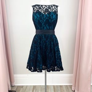 Knee Length Stretch Lace Black and Teal Dress